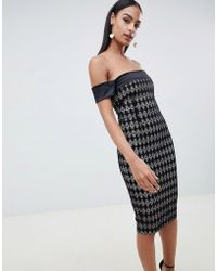086842879b7 French Connection Downtown Grid-print Ponte Dress in Black - Lyst