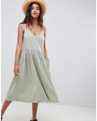 ASOS - Casual Smock Midi Cami Dress - Lyst