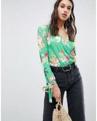 ASOS - Long Sleeve Tie Cuff Wrap Daywear Body In Floral Print - Lyst