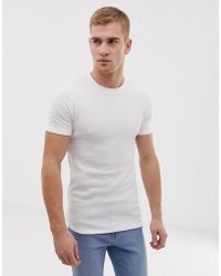 c8e9a5dd ASOS Muscle Fit T-shirt With Crew Neck And Stretch in White for Men ...