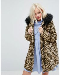 Lazy Oaf - Oversized Parka Jacket In Purrfect Leopard Print - Lyst