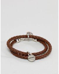 DIESEL - Leather Double Wrap Bracelet In Brown - Lyst