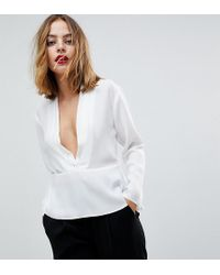 ASOS - Waisted Plunge Top - Lyst
