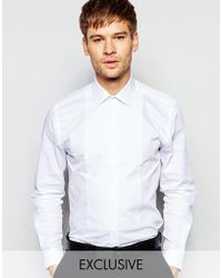 Number Eight Savile Row - Exclusive Evening Shirt With Bib Front In Skinny Fit - Lyst