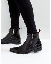 Jeffery West - Scarface Brogue Zip Boots In Black Leather - Lyst