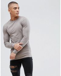 ASOS - Muscle Fit T-shirt With Long Sleeves In Beige - Lyst