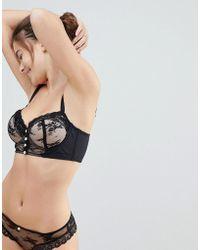 ASOS - Asos Premium Fuller Bust Pearl & Lace Longline Underwire Bra - Lyst