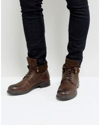 Dune - Military Boot With Suede - Lyst
