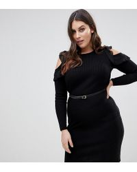 Lipsy | Knitted Midi Dress With Frill Detail | Lyst
