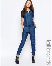 Noisy May Tall - Short Sleeve Jumpsuit With Drawstring Waist - Lyst