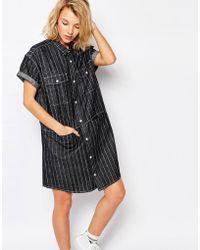 Carhartt WIP - Carhartt Denim Shirt Dress In Heart Stripe - Stripe Blue Rinse - Lyst