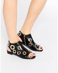 E8 - Isabel Gold Eyelet Flat Sandals - Lyst