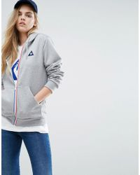 Le Coq Sportif - Boyfriend Full Zip Hoodie With Tricolores Zip - Lyst