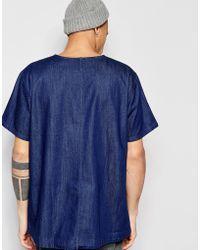 WÅVEN - Denim T-shirt Magnus Crew Neck Torkel Blue Dark Wash - Lyst