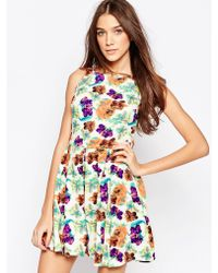 Madam Rage - Floral Printed Dress With Pleat - Lyst