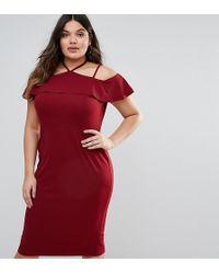 4a4e1c6005 ASOS - Pencil Dress With Strap Shoulder Detail - Lyst