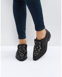 Sol Sana - Nancy Black Star Studded Leather Flat Shoes - Lyst