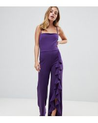 d29e6935819a John Zack - Wide Leg Jumpsuit With exaggerated Ruffle Detail In Purple -  Lyst