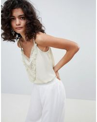 Mango - Lace And Ruffle Cami Top In Pale Green - Lyst