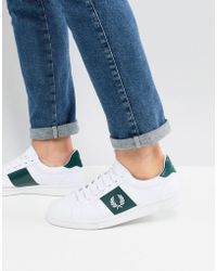 Fred Perry - B721 Canvas Trainers In White - Lyst