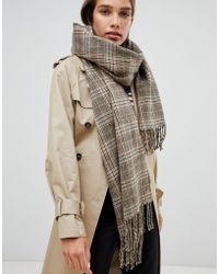 Monki - Check Scarf In Brown - Lyst