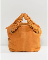 ASOS - Design Suede Zip Top Tote Bag With Ruched Handle - Lyst