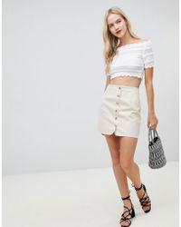 ASOS - Design Denim Skirt With Tortoiseshell Buttons In Stone - Lyst