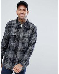 Bershka - Check Overshirt In Grey - Lyst