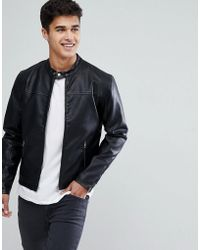 Solid - Faux Leather Jacket With Biker Collar - Lyst
