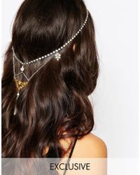Olivia The Wolf - Livia The Wolf Crystal Silver Gold Halo Headband - Lyst