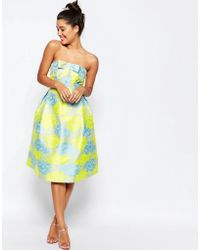 ASOS | Bandeau Floral Midi Prom Dress With Bow | Lyst
