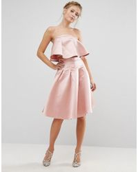 Chi Chi London - Occasion Midi Skirt In Satin Co-ord - Lyst