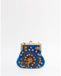 Moyna - Velvet Clutch Bag With Gold Metal Beadwork - Lyst