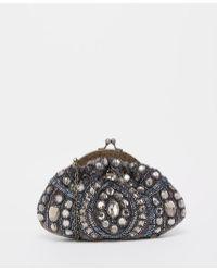 Moyna - Velvet Vintage Style Clutch Bag With Gems & Beading - Lyst