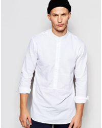 ADPT - Half Placket Longline Grandad Shirt In Regular Fit - White - Lyst