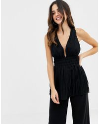 ASOS - Pleated Plunge Top With Cross Back - Lyst
