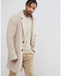 ASOS - Tall Relaxed Borg Overcoat In Ecru - Lyst