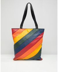 Warehouse - Leather Shopper Bag In Rainbow Stripe - Lyst