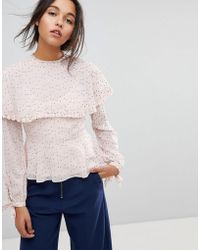 MAX&Co. - Max&co Ruffle Dot Blouse - Lyst