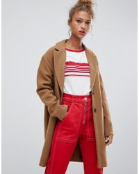 Pull&Bear - Button Front Coat In Tan - Lyst