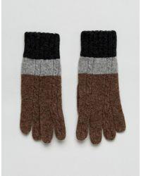 Vincent Pradier - Cable Knit Colourblock Gloves - Lyst