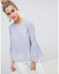 Warehouse - Broderie Hem Fluted Sleeve Top - Lyst