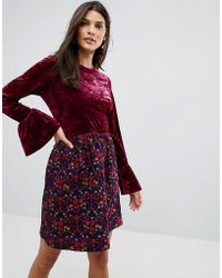a94839b0f8de3 Anna Sui - Crushed Velvet Dress With Jaqcuard Floral Skirt - Lyst