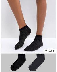Vero Moda - 2 Pack Glitter Socks - Lyst