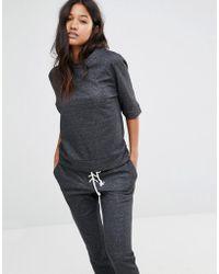Glamorous - Short Sleeve Oversized Sweatshirt - Lyst