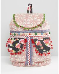 Glamorous - Embroidered Backpack With Pom Pom Trim - Multi - Lyst