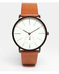 Skagen - Hagen Leather Watch In Brown Skw6216 - Lyst