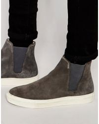 H by Hudson - Suede Chelsea Trainers - Grey - Lyst