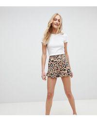 Daisy Street - High Waist Shorts With Ruffle Hem In Leopard - Lyst
