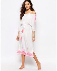 936a8b40b4 Akasa - Embriodered Bardot Beach Maxi Dress - Lyst